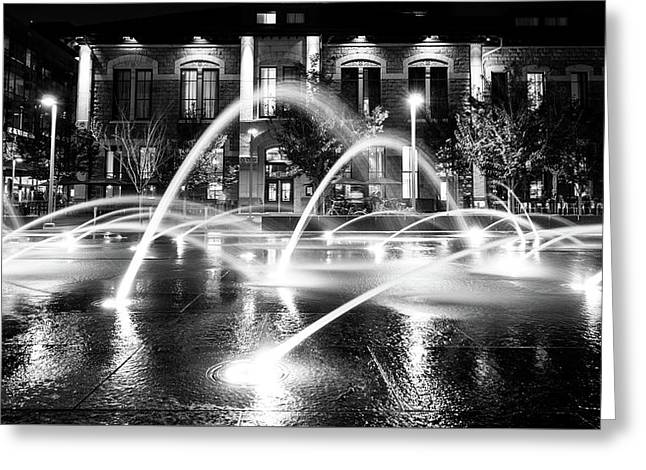 Greeting Card featuring the photograph Union Station Fountains by Stephen Holst