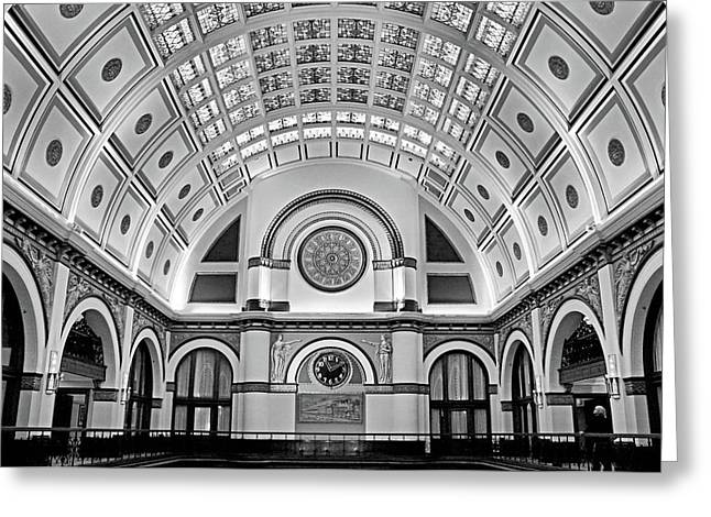 Union Station Lobby Bw Greeting Card