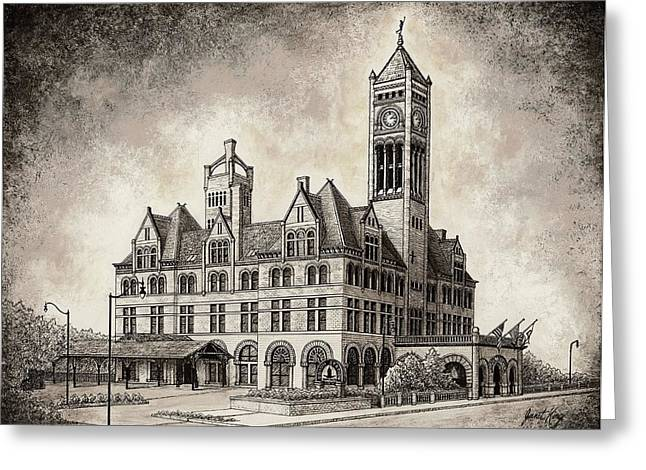 Union Station Mixed Media Greeting Card by Janet King