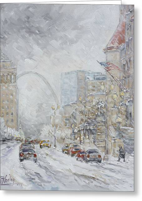 Union Station, St.louis - Winter Storm Greeting Card