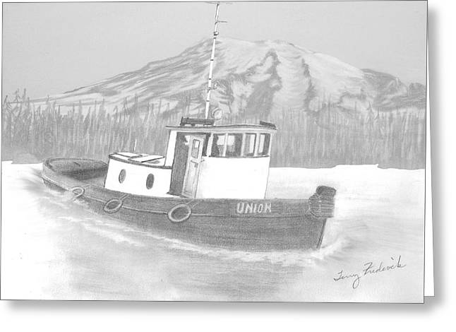 Greeting Card featuring the drawing Tugboat Union by Terry Frederick