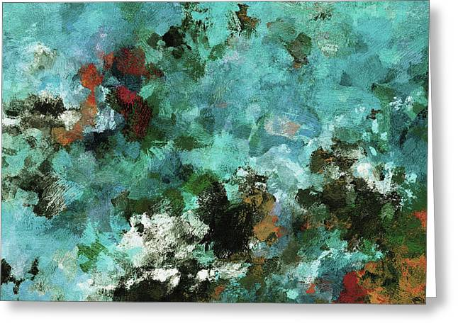 Greeting Card featuring the painting Unique Abstract Art / Landscape Painting by Ayse Deniz
