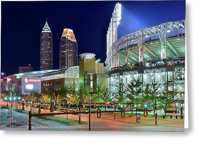 Unique City And Stadium View Greeting Card by Frozen in Time Fine Art Photography