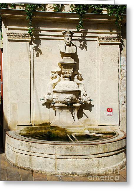 Nostradamus Fountain In Saint Remy De Provence France Greeting Card