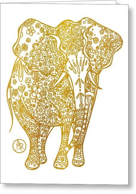 Unique Golden Elephant Art Drawing By Megan Duncanson Greeting Card