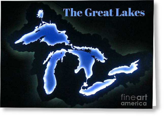 Unique Great Lakes Map Greeting Card by John Malone