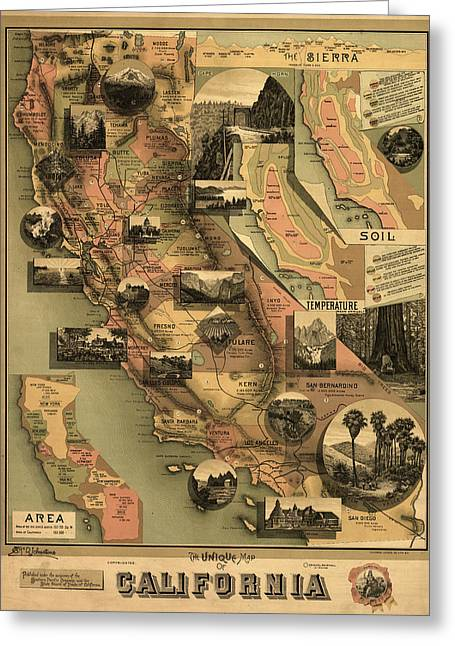 Unique Map Of California 1888 Greeting Card