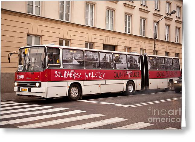 Unique Solidarnosc Bus On Street Greeting Card