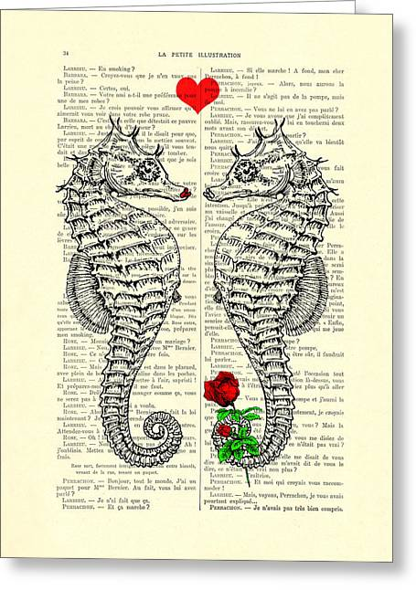 Unique Valentines Day Gift Ideas, Seahorses Greeting Card by Madame Memento