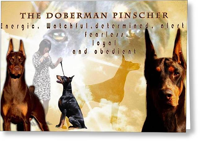 Uniquness In The Doberman Greeting Card by Maria C Martinez
