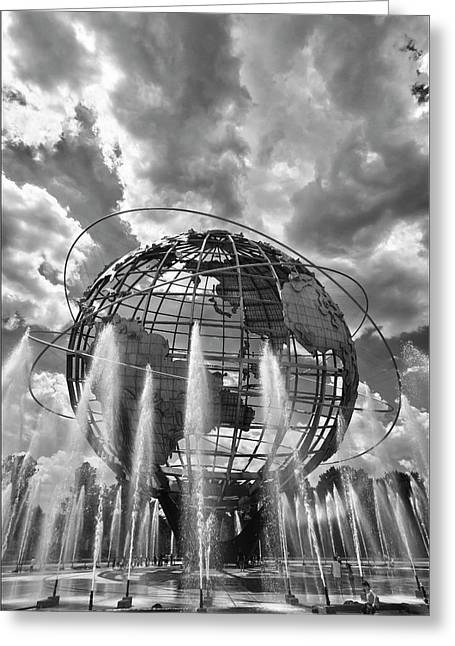 Unisphere And Fountains Flushing Meadow Park Nyc Greeting Card