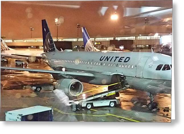 United Airlines A319 At Newark Airport Greeting Card
