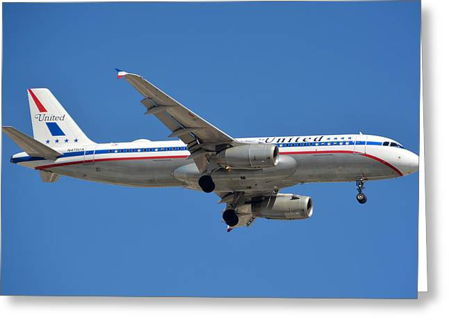 United Airlines Airbus A320 Friend Ship N475ua Sky Harbor March 24 2015 Greeting Card by Brian Lockett