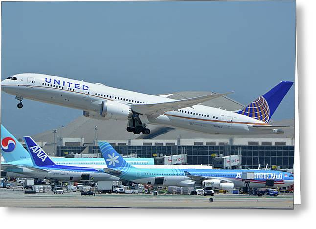Greeting Card featuring the photograph United Boeing 787-9 N27965 Los Angeles International Airport May 3 2016 by Brian Lockett