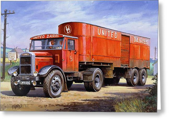 United Dairies Scammell. Greeting Card