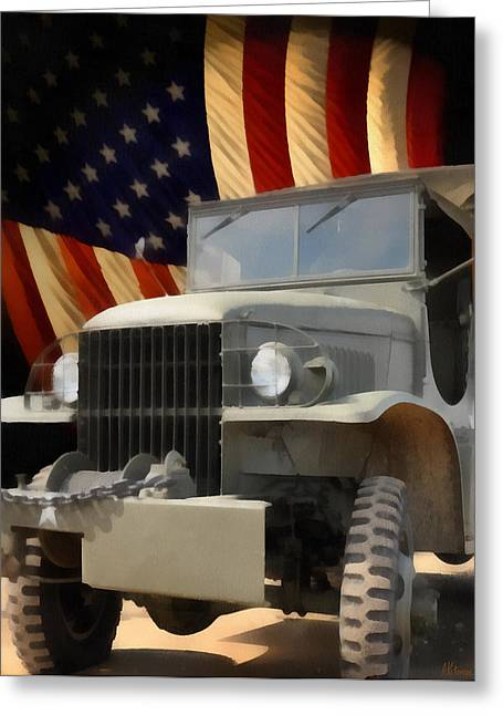 4th July Paintings Greeting Cards - United States Army Truck and American Flag  Greeting Card by Anne Kitzman