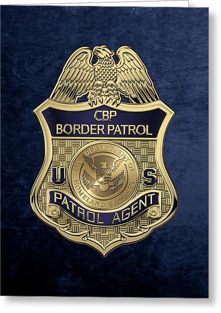 United States Border Patrol -  U S B P  Patrol Agent Badge Over Blue Velvet Greeting Card by Serge Averbukh