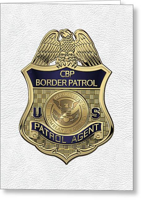 United States Border Patrol -  U S B P  Patrol Agent Badge Over White Leather Greeting Card by Serge Averbukh