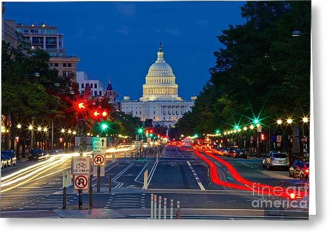United States Capitol Along Pennsylvania Avenue In Washington, D.c.   Greeting Card