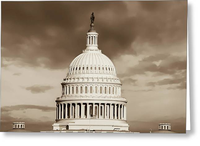 United States Capitol Building - Washington D.c. - Sepia Greeting Card