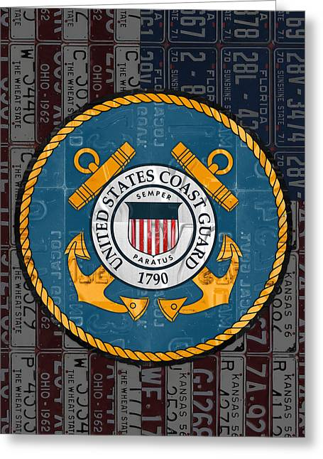 United States Coast Guard Logo Recycled Vintage License Plate Art Greeting Card by Design Turnpike