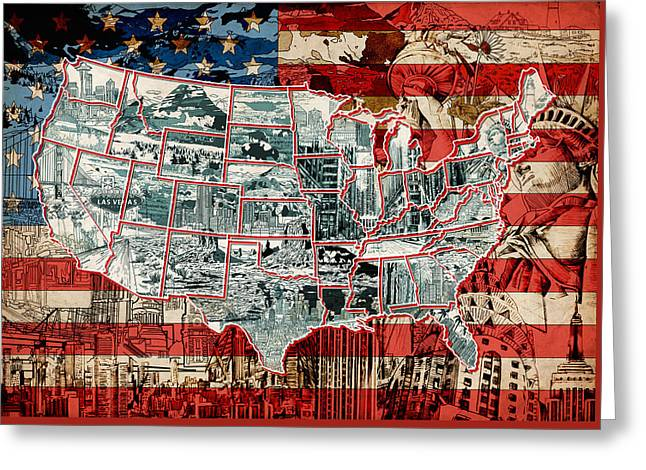 United States Drawing Collage Map 6 Greeting Card by Bekim Art