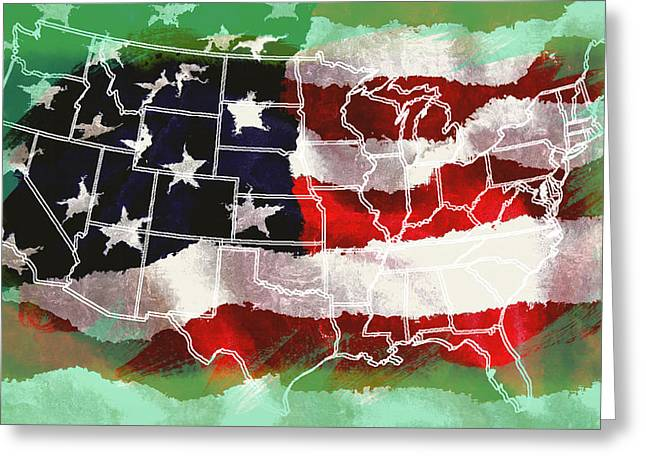 United States Flag Map Greeting Card by Daniel Hagerman