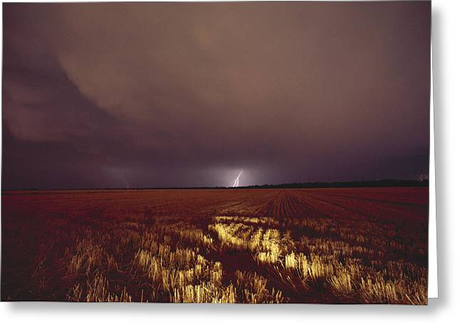 Photography Lightning Greeting Cards - United States, Kansas, Lightning Greeting Card by Keenpress