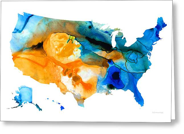 United States Map - America Map 9 - By Sharon Cummings Greeting Card