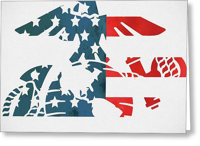 United States Marine Corp Logo American Flag Greeting Card by Dan Sproul