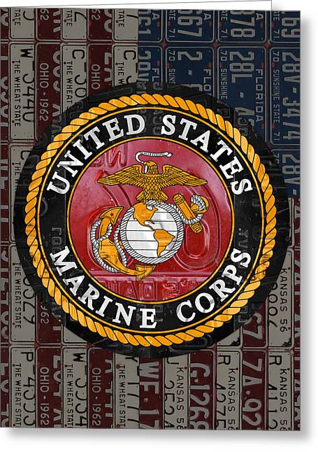 United States Marine Corps Logo Vintage Recycled License Plate Art Greeting Card