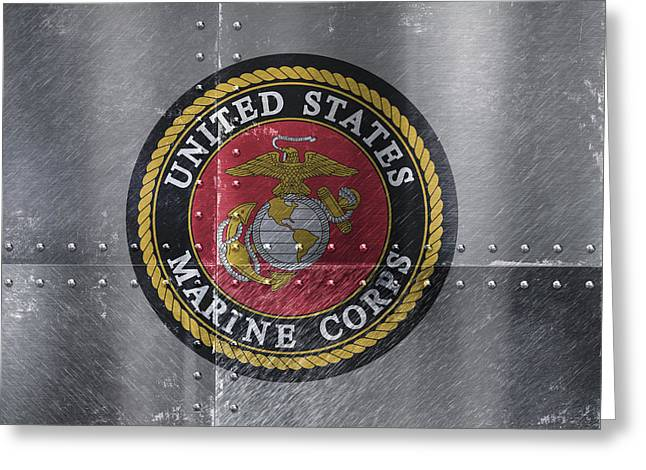 United States Marines Logo On Riveted Steel Greeting Card