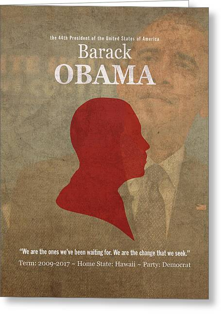 United States Of America President Barack Obama Facts Portrait And Quote Poster Series Number 44 Greeting Card by Design Turnpike