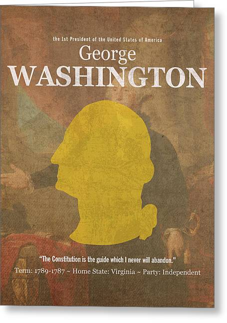 United States Of America President George Washington Facts And Portrait Poster Series Number 1 Greeting Card by Design Turnpike