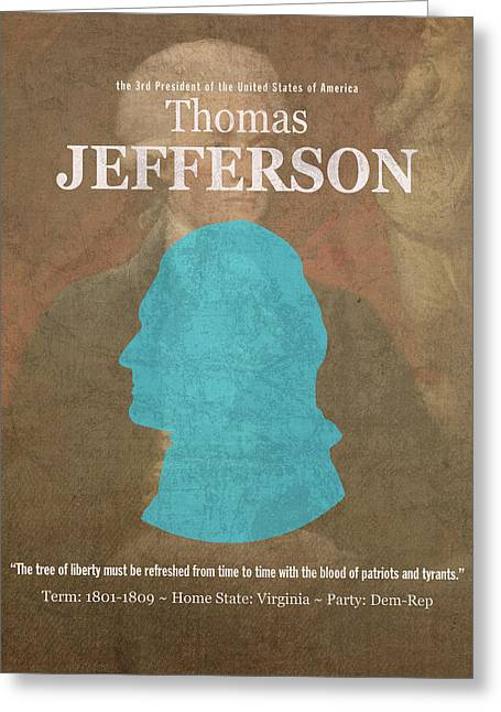 United States Of America President Thomas Jefferson Facts Portrait And Quote Poster Series Number 3 Greeting Card by Design Turnpike