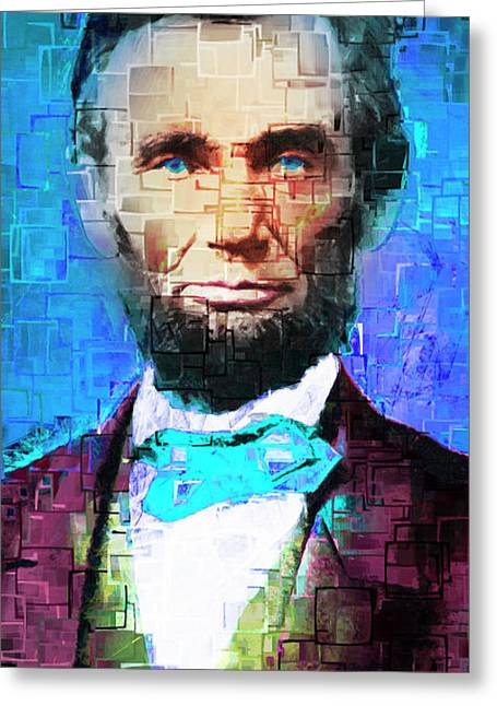 United States President Abraham Lincoln 20170325 Long Greeting Card by Wingsdomain Art and Photography