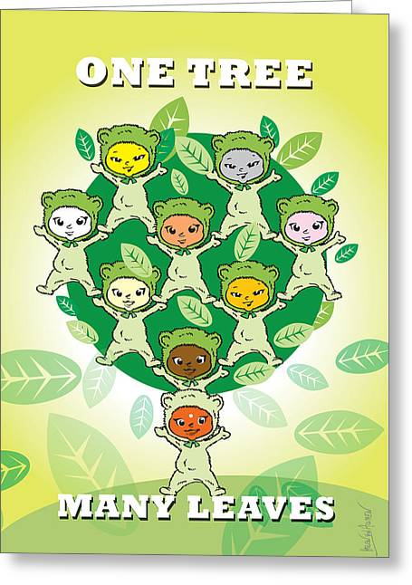 Unity And Diversity One Tree Many Leaves Greeting Card by Helen Von Allmen