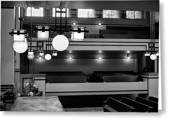 Unity Temple Interior Black And White Greeting Card