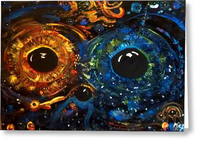Greeting Card featuring the painting Universe Watching by Michelle Audas