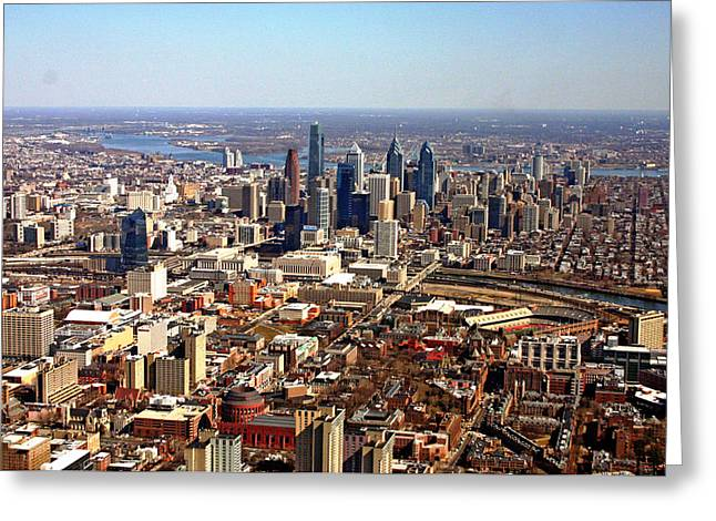 University City Philadelphia Skyline Aerial Greeting Card