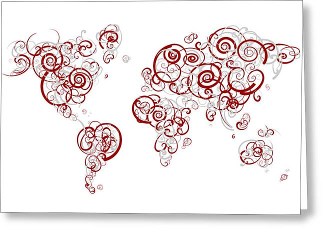 University Of Alabama Colors Swirl Map Of The World Atlas Greeting Card by Jurq Studio