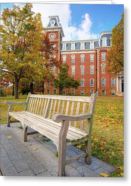 University Of Arkansas Campus In Fall - Old Main Building Greeting Card