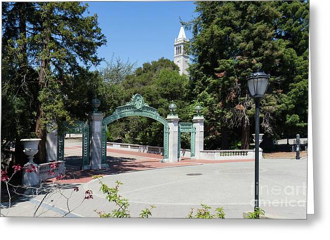 University Of California At Berkeley Sproul Plaza Sather Gate And Sather Tower Campanile Dsc6261 Greeting Card