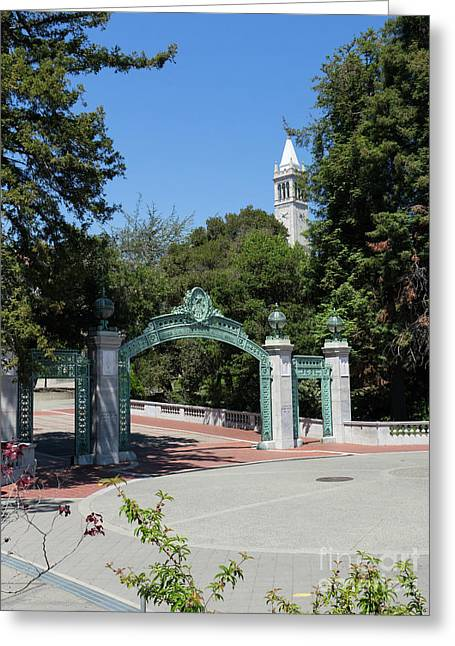 University Of California At Berkeley Sproul Plaza Sather Gate And Sather Tower Campanile Dsc6262 Greeting Card