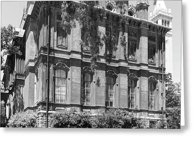 University Of California Berkeley Historic South Hall And The Campanile Dsc4058 Square Bw Greeting Card by Wingsdomain Art and Photography