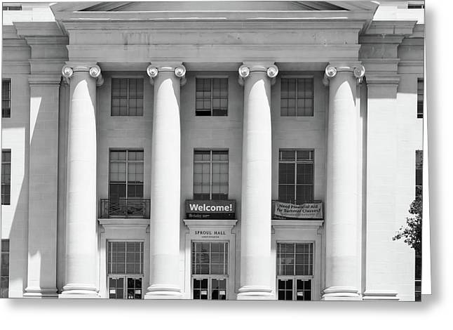 University Of California Berkeley Historic Sproul Hall At Sproul Plaza Dsc4081 Square Bw Greeting Card