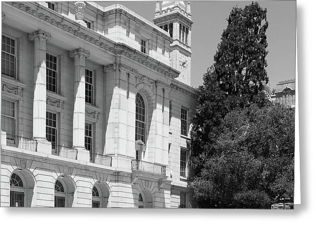 University Of California Berkeley Ide Wheeler Hall South Hall And The Campanile Dsc4066 Sq Bw Greeting Card by Wingsdomain Art and Photography