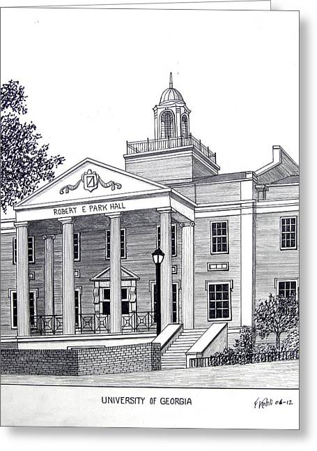 College Campus Buildings Drawings Greeting Cards - University of Georgia Greeting Card by Frederic Kohli