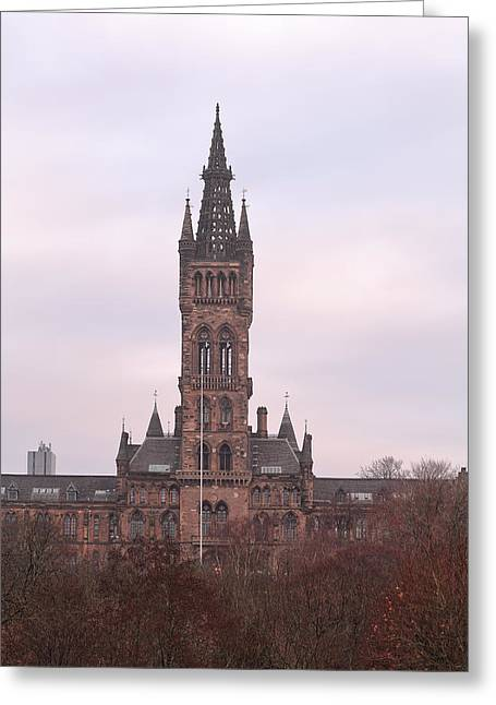 University Of Glasgow At Sunrise Greeting Card