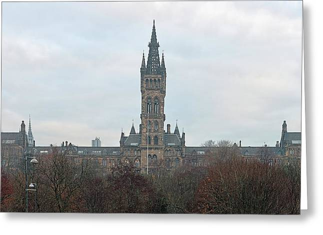 University Of Glasgow At Sunrise - Panorama Greeting Card
